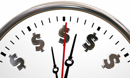 signs and symbols: Dollar Signs Clock Time is Money Symbols 3d Illustration Stock Photo