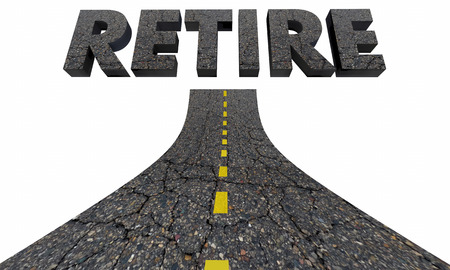 old people: Road to Retirement Future Savings 401K Word 3d Illustration