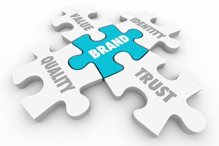 ブランド パズルのピース品質値のアイデンティティの信頼の言葉 3 d イラストレーション