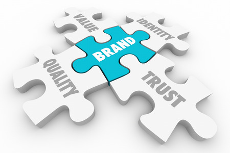 affinity: Brand Puzzle Pieces Quality Value Identity Trust Words 3d Illustration