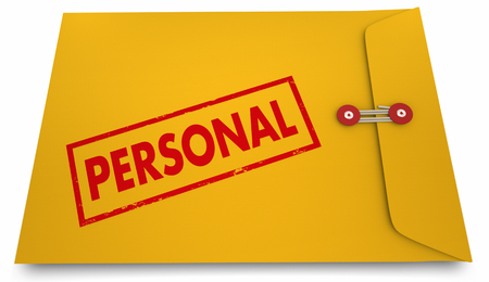 discrete: Personal Information Yellow Stamped Envelope 3d Illustration