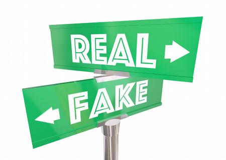 가짜 대 진짜 양방향 간판 뉴스 사실 정통 3D 일러스트 레이션 스톡 콘텐츠