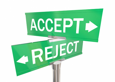 denial: Accept or Reject Two Way Road Signs Approve vs Deny 3d Illustration