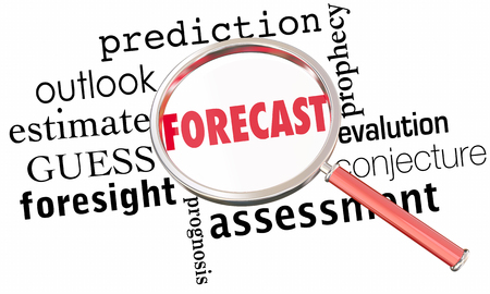 communication: Forecast Prediction Outlook Estimate Word Collage Magnifying Glass 3d Illustration Stock Photo