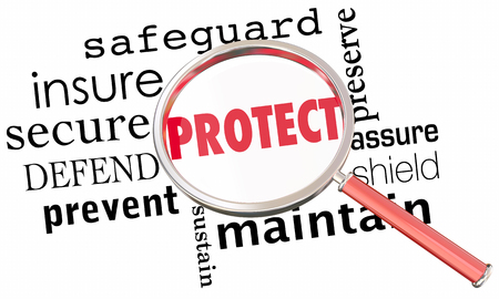 Protect Secure Safeguard Word Collage Magnifying Glass 3d Illustration Stok Fotoğraf