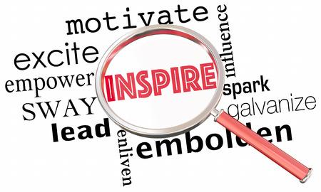 Inspireer Motiveer Excite Empower Vergrootglas Collage Woorden 3d Illustratie