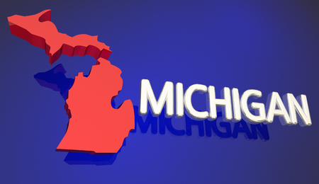 midwest: Michigan Red State Map MI Word Name 3d Illustration