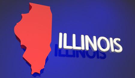 Illinois Rode Staats Kaart IL Word Naam 3D Illustratie