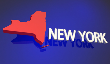 New York Red State Map NY Word Name 3d Illustration