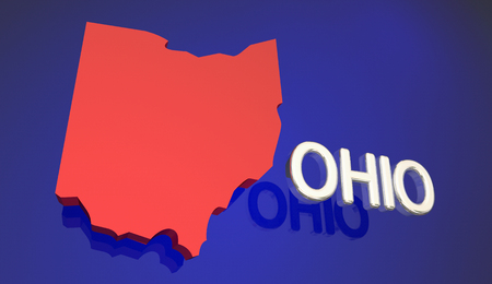 Ohio Red State Map OH Word Name 3d Illustration