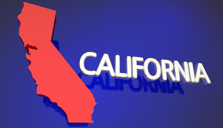 California Red State Map CA Word Name 3d Illustration