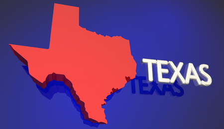 tx: Texas Red State Map TX Word Name 3d Illustration Stock Photo