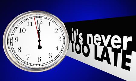 그 결코 너무 늦은 시간 시계 단어 지나가는 3D 일러스트 레이션