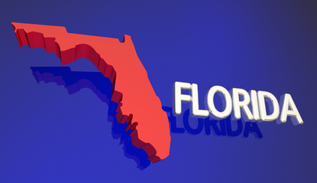 Florida FL Red State Map Tampa Orlando Miami 3d Illustration