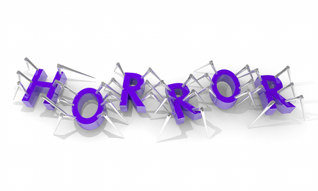 crawlers: Horror Movie Spiders Scary Fear Letters Word 3d Illustration