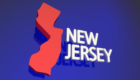 新しいジャージ ニュージャージー州赤の状態マップ単語名 3 d イラストレーション