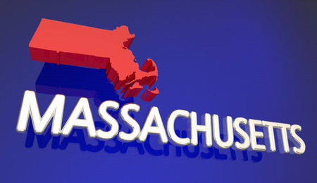 Massachusetts MA Red State Map Boston 3d Illustration