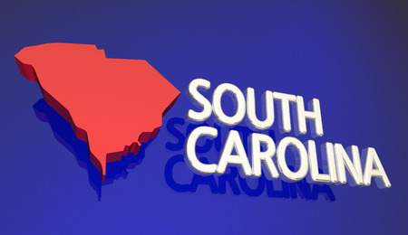 South Carolina SC Red State Map Name Words 3d Illustration