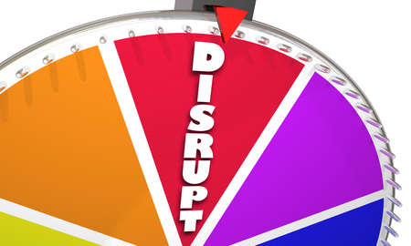 disruptive: Disrupt Word Game Show Wheel Spinning 3d Illustration Stock Photo