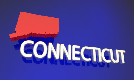 business focus: Connecticut CT Red State Map Name 3d Illustration