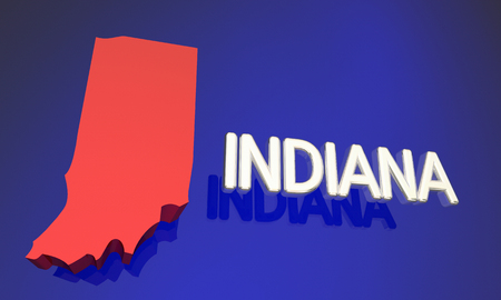 midwest: Indiana IN Red State Map Name 3d Illustration