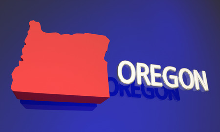 Oregon OR Red State Map Name 3d Illustration