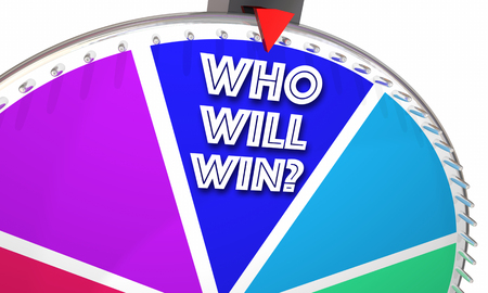 speculation: Who Will Win Game Show Spinning Wheel Words 3d Illustration Stock Photo