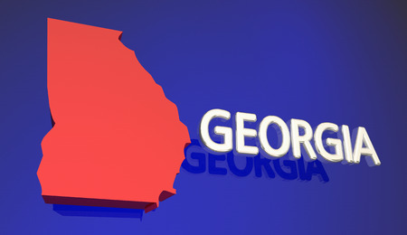 georgia: Georgia GA Red State Map Atlanta 3d Illustration