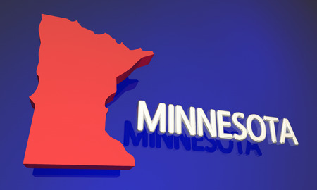 mn: Minnesota MN Red State Map Name 3d Illustration