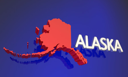 blue abstract: Alaska AK Red State Map Name 3d Illustration Stock Photo