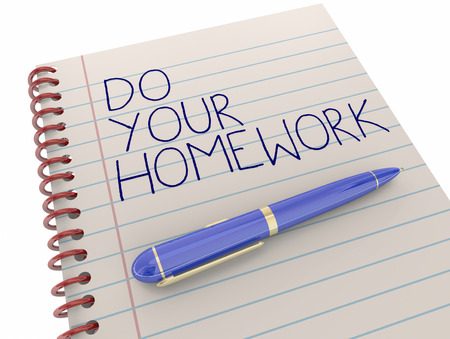 getting ready: Do Your Homework School Assignment Work Notepad Pen Writing 3d Illustration Stock Photo