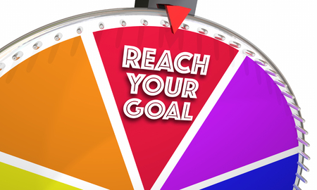 wheel spin: Reach Your Goal Achieve Success Win Game Wheel 3d Illustration
