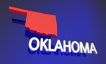 Oklahoma OK Red State Map Name Word 3d Illustration Stock Photo