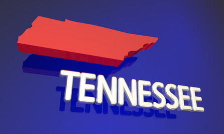 tn: Tennessee TN Red State Map Name Word 3d Illustration
