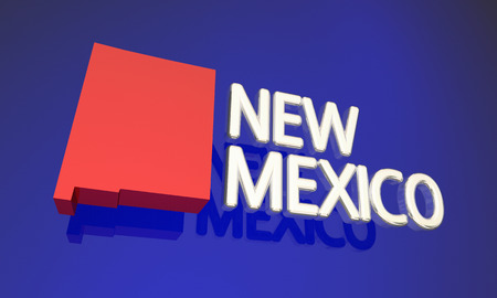 nm: New Mexico NM Red State Map Name Word 3d Illustration