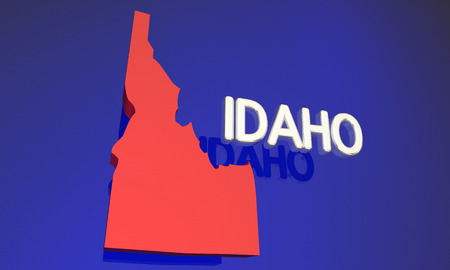 business focus: Idaho ID Red State Map Name Word 3d Illustration