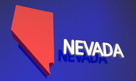 blue abstract: Nevada NV Red State Map Name 3d Illustration