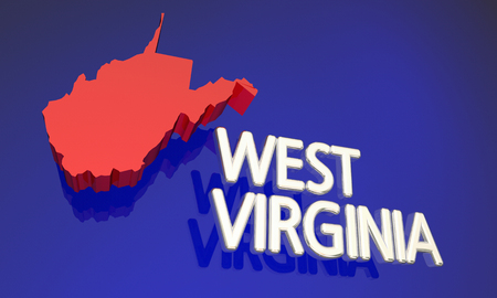 west virginia: West Virginia WV Red State Map Name 3d Illustration Stock Photo