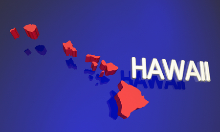 oahu: Hawaii HI Red State Map Name 3d Illustration