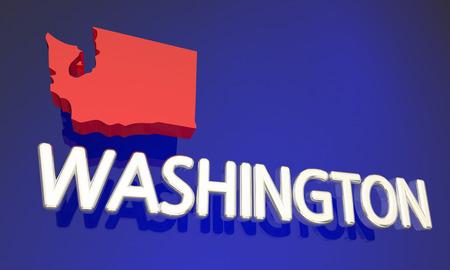 northwestern: Washington WA Red State Map Name 3d Illustration Stock Photo