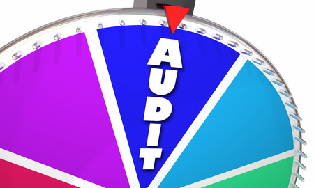 odds: Audit Tax Review Accounting Bookkeeping Game Show Wheel Odds 3d Illustration