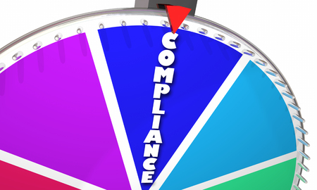 Compliance Rules Laws Follow Comply Game Show Spinning Wheel 3d Illustration