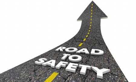 Route vers la sécurité Sécurité Réduire les mots de risque Illustration 3d Banque d'images - 73885694