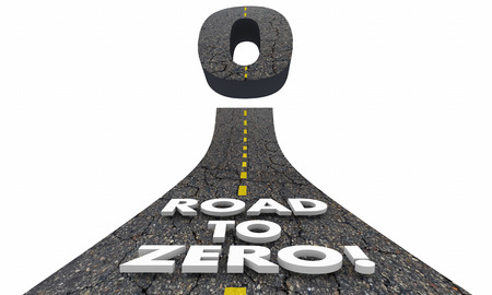 decreased: Road to Zero Reduction Eliminate Lower Risk 3d Illustration Stock Photo
