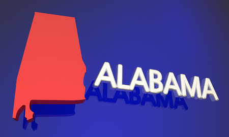 Alabama AL Red State Map Name 3d Illustration Stock Photo