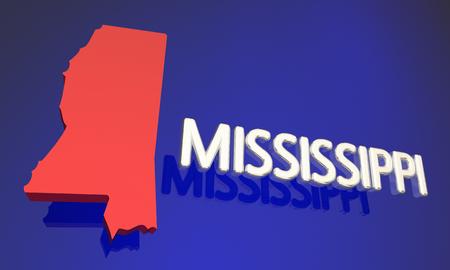 Mississippi MS Red State Map Name 3d Illustration