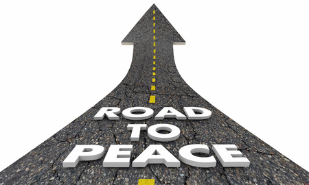 peace treaty: Road to Peace End War Fighting Words 3d Illustration