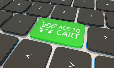 retailers: Add to Cart Online Shopping Computer Keyboard 3d Illustration