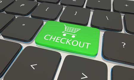 computer button: Checkout Computer Laptop Keyboard Button Online Store 3d Illustration