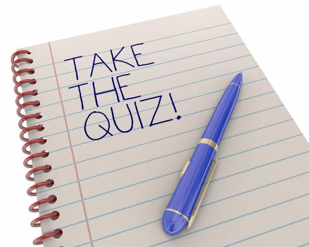 writing pad: Take the Quiz Test Exam Trivia Fun Game Pen Writing Words 3d Illustration
